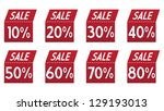 set of folded red sale labels | Shutterstock .eps vector #129193013