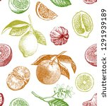 seamless pattern with lemons ... | Shutterstock .eps vector #1291939189