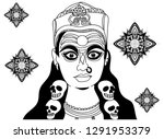 doodle line drawing of indian... | Shutterstock .eps vector #1291953379