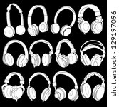 headphones silhouettes ... | Shutterstock .eps vector #129197096