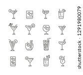 cocktail related icons  thin... | Shutterstock .eps vector #1291980079