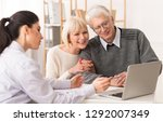 senior couple meeting financial ... | Shutterstock . vector #1292007349