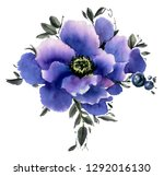watercolor  flowers isolated on ... | Shutterstock . vector #1292016130