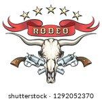 bull skull with pair of... | Shutterstock .eps vector #1292052370