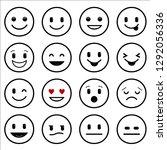 emoji icons in simple line... | Shutterstock .eps vector #1292056336