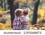 childhood kiss  love and trust. ... | Shutterstock . vector #1292068873