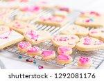 decorating heart shape sugar... | Shutterstock . vector #1292081176