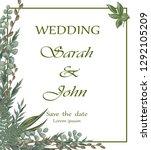 wedding invitation with... | Shutterstock .eps vector #1292105209