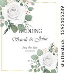 wedding invitation with rose... | Shutterstock .eps vector #1292105239