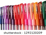 colorful gel pens laid down in... | Shutterstock . vector #1292120209