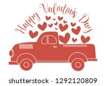 happy valentines day red truck...   Shutterstock .eps vector #1292120809