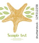 starfish and leaves card | Shutterstock .eps vector #129212258