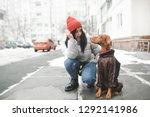 attractive woman in warm... | Shutterstock . vector #1292141986