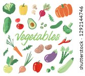 hand drawn vegetables isolated... | Shutterstock .eps vector #1292144746
