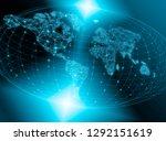 world map on a technological... | Shutterstock . vector #1292151619