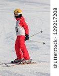 Girl on the ski race - stock photo