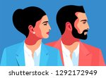 male and female close up... | Shutterstock .eps vector #1292172949
