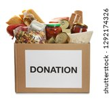 donation box full of different... | Shutterstock . vector #1292174326
