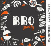 bbq party hand drawn vector... | Shutterstock .eps vector #1292174899