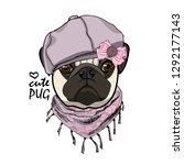 vector dog with violet knitted... | Shutterstock .eps vector #1292177143