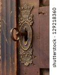 Old Keyhole With Key  Closeup ...