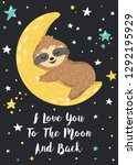 i love you to the moon and back ... | Shutterstock .eps vector #1292195929