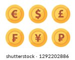 set of currency coins icon... | Shutterstock .eps vector #1292202886
