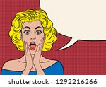 beautiful retro girl surprised... | Shutterstock .eps vector #1292216266
