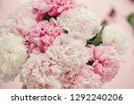 stylish peonies bouquet flat...   Shutterstock . vector #1292240206