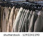rows of men's different  pants  ... | Shutterstock . vector #1292241190