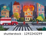 firefighters with engine fire...   Shutterstock .eps vector #1292243299