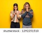 hippie couple over yellow... | Shutterstock . vector #1292251510