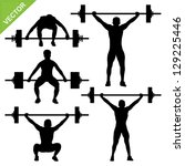 weight lifting silhouettes... | Shutterstock .eps vector #129225446