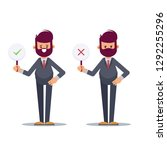 business man showing check mark ... | Shutterstock .eps vector #1292255296
