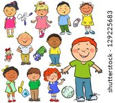happy kids  hand drawn children ... | Shutterstock .eps vector #129225683