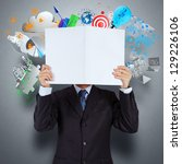 businessman hand show book of... | Shutterstock . vector #129226106