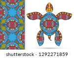 decorative doodle turtle with... | Shutterstock .eps vector #1292271859