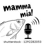 funny fish and mamma mia message | Shutterstock .eps vector #1292282053