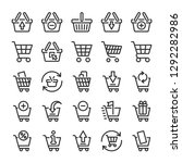 shopping cart and baskets icons ... | Shutterstock .eps vector #1292282986