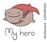 funny hero cat flying | Shutterstock .eps vector #1292283169
