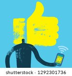 man with smartphone  head and... | Shutterstock .eps vector #1292301736