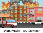 fire in the town illustration | Shutterstock .eps vector #1292306080