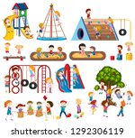 set of children at playground... | Shutterstock .eps vector #1292306119