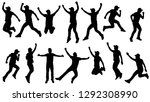 silhouettes group of young man... | Shutterstock .eps vector #1292308990