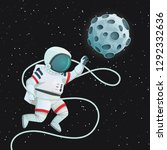 astronaut with tether flying... | Shutterstock .eps vector #1292332636