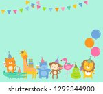 cute safari cartoon animals... | Shutterstock .eps vector #1292344900