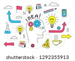 creative idea in the head of a... | Shutterstock .eps vector #1292355913