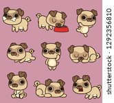cute kawaii cartoon pug in... | Shutterstock .eps vector #1292356810