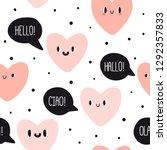 cute emotion hearts with speech ... | Shutterstock .eps vector #1292357833