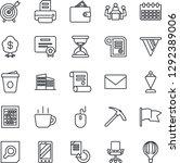 thin line icon set   mobile... | Shutterstock .eps vector #1292389006